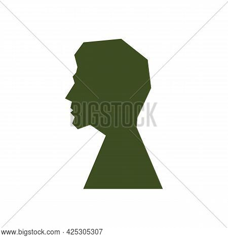 Silhouette Men In Profile Color Icon. Sketch Of Male Face Or Human Head. Trendy Flat Isolated Symbol