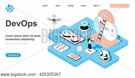Devops Isometric Concept. Monitoring And Optimization Of Development Processes And Operations, Teamw
