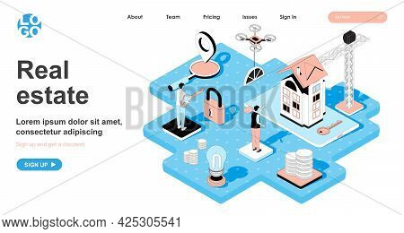 Real Estate Isometric Concept. Investment In Construction Of New Houses, Sale Of Apartments, Purchas
