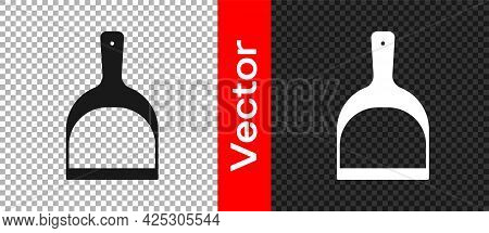 Black Dustpan Icon Isolated On Transparent Background. Cleaning Scoop Services. Vector