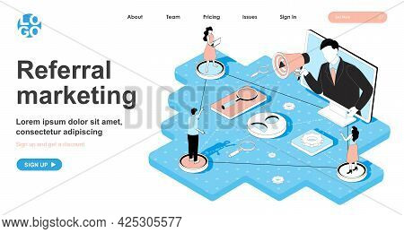 Referral Marketing Isometric Concept. Business Promotion Through Client Recommendations, Sharing At