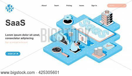 Saas Isometric Concept. Distribution Of Software By Subscription, Service For Purchasing Licenses An