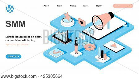 Smm Isometric Concept. Social Media Marketing. Promotion And Advertising In Social Networks, Success
