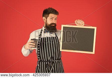 Cold Brew Coffee. Restaurant Staff. Hipster Professional Barista Apron Uniform. Waiter Bartender. Ca