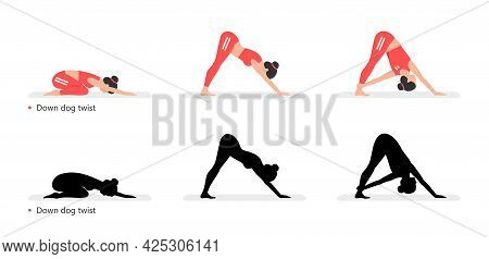 Young Sporty Woman Practicing Yoga, Down Dog Twist. Flat Style. Isolated On Black Background