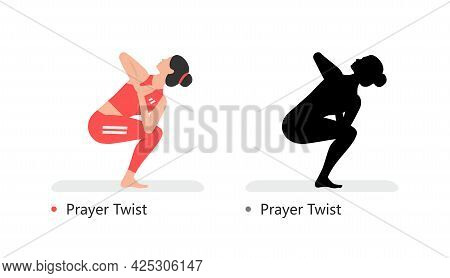 Young Sporty Woman Practicing Yoga, Prayer Twist. Flat Style. Isolated On Black Background