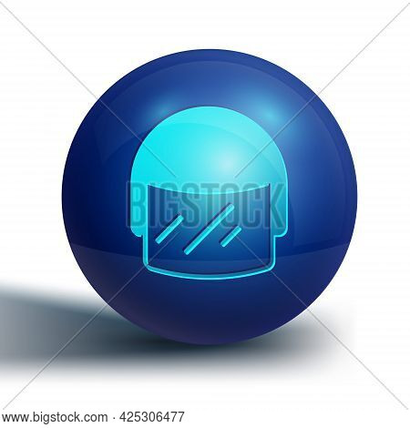 Blue Police Helmet Icon Isolated On White Background. Military Helmet. Blue Circle Button. Vector