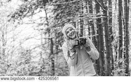 Cold And Beautiful Weather. Happy Hiker Girl Retro Camera. Professional Photographer Winter Landscap