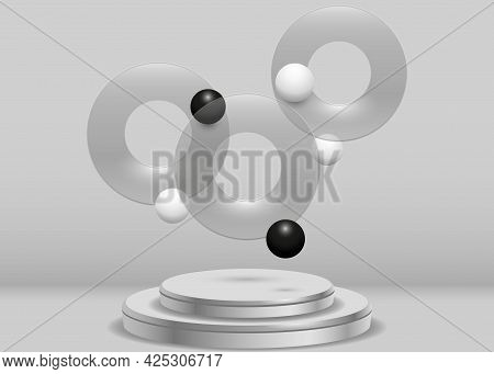Transparent Disc And Black And White Spheres. Realistic Scene With A Round Pedestal And A Group Of F