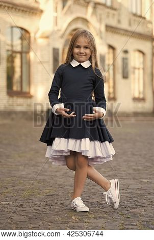 Its Easy To Be Nice If You Feel Comfortable. Small Kid Wear Uniform Outdoors. Back To School Style.
