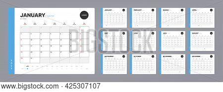 Calendar Organizer Template For 2022 Year. Annual Diary Planner Schedule Design. Corporate Calendar,