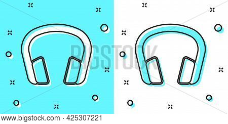 Black Line Headphones Icon Isolated On Green And White Background. Earphones. Concept For Listening