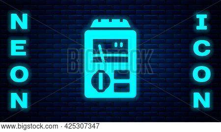 Glowing Neon Dosimeter For Measuring Radiation Icon Isolated On Brick Wall Background. Gamma Radiati