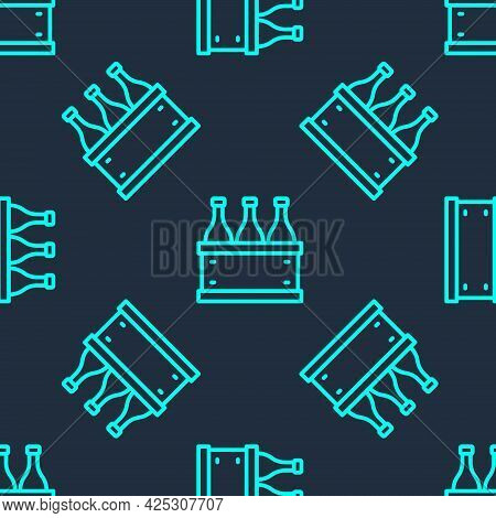 Green Line Bottles Of Wine In A Wooden Box Icon Isolated Seamless Pattern On Blue Background. Wine B