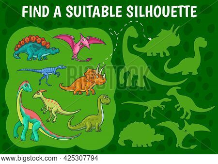 Cartoon Dinosaurs, Find A Dino Silhouette Kids Game. Vector Shadow Match Riddle With Cute Jurassic A