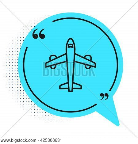 Black Line Plane Icon Isolated On White Background. Flying Airplane Icon. Airliner Sign. Blue Speech