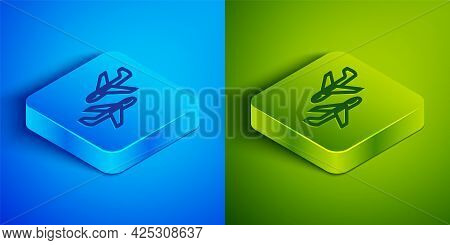 Isometric Line Plane Icon Isolated On Blue And Green Background. Flying Airplane Icon. Airliner Sign