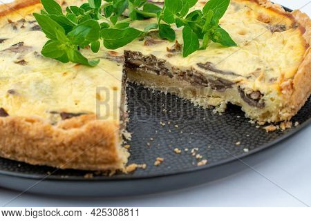 Closeup Wide Studio Shot Of Freshly Baked Yellow French Salty Cake, Or Quiche, With Mushrooms And Gr