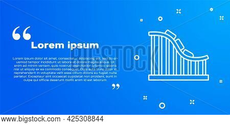 White Line Roller Coaster Icon Isolated On Blue Background. Amusement Park. Childrens Entertainment