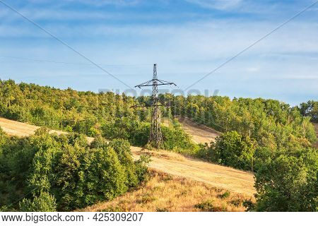 Energy And Electricity Industry, Power Lines, Electrical Equipment And High-voltage Wires On The Mou