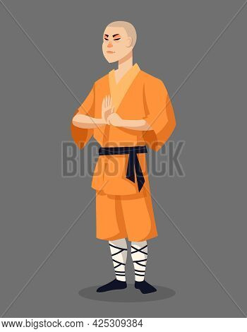 Standing Shaolin Monk. Male Character In Cartoon Style.
