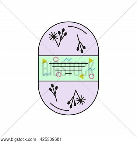 Scrub Soap Oval Shape For The Body With Inclusions Of Flowers, Grains, Herbs. Color Icon On A White