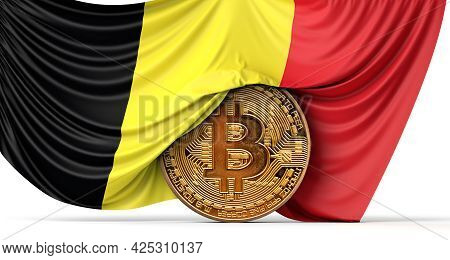 Gemany Flag Draped Over A Bitcoin Cryptocurrency Coin. 3d Rendering