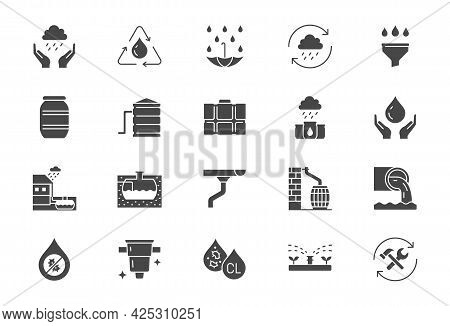 Rainwater Harvesting Flat Icons. Vector Illustration Include Icon - Barrel, Stainless Steel Reservoi