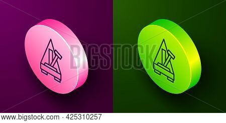 Isometric Line Classic Metronome With Pendulum In Motion Icon Isolated On Purple And Green Backgroun