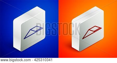 Isometric Line Skate Park Icon Isolated On Blue And Orange Background. Set Of Ramp, Roller, Stairs F