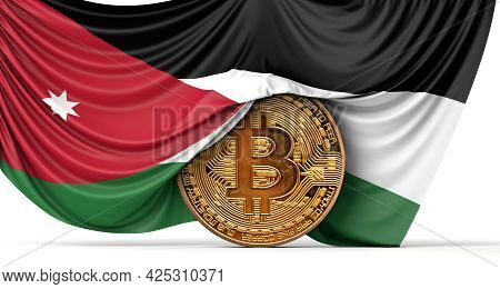 Jordan Flag Draped Over A Bitcoin Cryptocurrency Coin. 3d Rendering