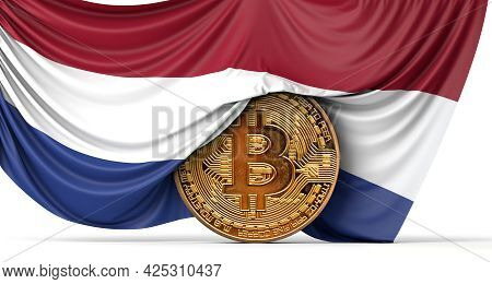 Netherlands Flag Draped Over A Bitcoin Cryptocurrency Coin. 3d Rendering