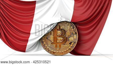 Peru Flag Draped Over A Bitcoin Cryptocurrency Coin. 3d Rendering
