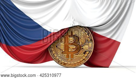 Czech Flag Draped Over A Bitcoin Cryptocurrency Coin. 3d Rendering