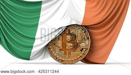 Ireland Flag Draped Over A Bitcoin Cryptocurrency Coin. 3d Rendering