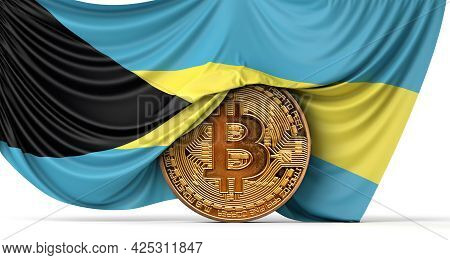 Bahamas Flag Draped Over A Bitcoin Cryptocurrency Coin. 3d Rendering