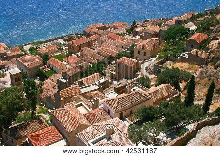 View From Hill In Monemvasia, Greece