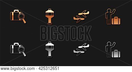 Set Lost Baggage, Airport Control Tower, Plane And Tourist With Suitcase Icon. Vector