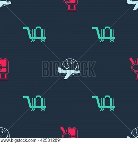 Set Lost Baggage, Globe With Flying Plane And Trolley On Seamless Pattern. Vector