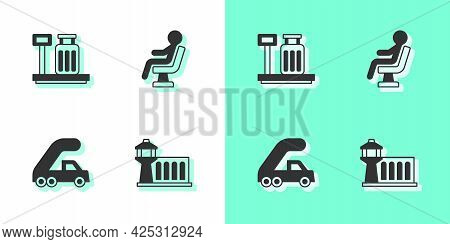 Set Airport Control Tower, Scale With Suitcase, Passenger Ladder For Plane Boarding And Human Waitin