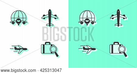 Set Lost Baggage, Globe With Flying Plane, Plane And Icon. Vector