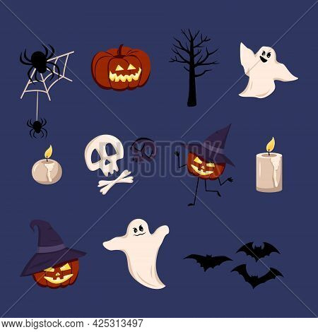 Festive Elements For Halloween. Lanterns Of Pumpkins With Faces And Hats, Ghosts With Grins, Black B
