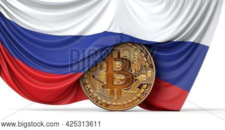 Russia Flag Draped Over A Bitcoin Cryptocurrency Coin. 3d Rendering