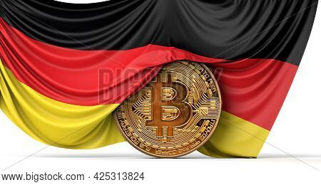 Germany Flag Draped Over A Bitcoin Cryptocurrency Coin. 3d Rendering