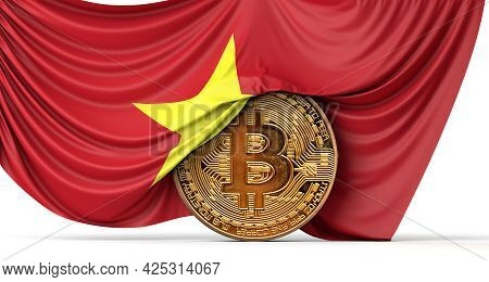 Vietnam Flag Draped Over A Bitcoin Cryptocurrency Coin. 3d Rendering