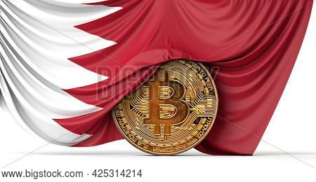 Bahrain Flag Draped Over A Bitcoin Cryptocurrency Coin. 3d Rendering