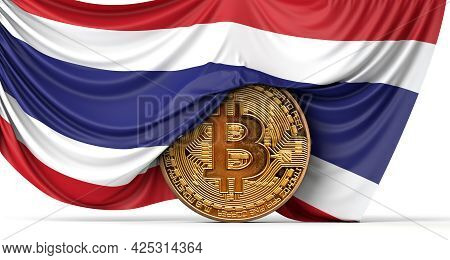 Thailand Flag Draped Over A Bitcoin Cryptocurrency Coin. 3d Rendering