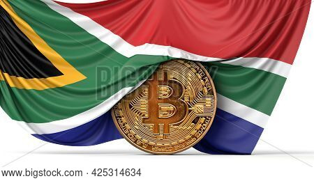 South Africa Flag Draped Over A Bitcoin Cryptocurrency Coin. 3d Rendering