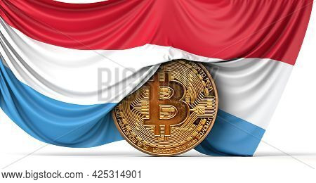 Luxembourg Flag Draped Over A Bitcoin Cryptocurrency Coin. 3d Rendering