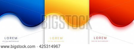 Set Of Abstract Modern Design Red Blue And Yellow Curved , Wave Geometric Overlapping On White Backg